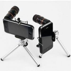 Kit foto iPhone obiectiv si trepied 8x telephoto lens