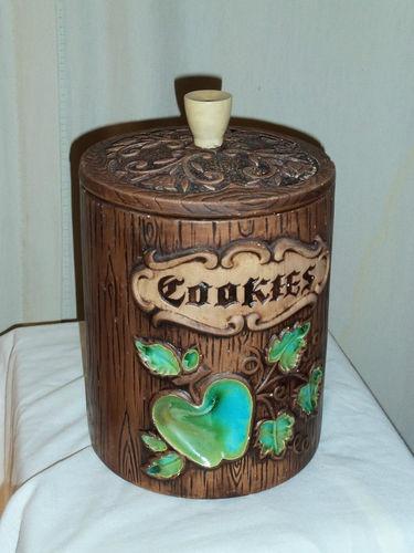 Vintage Treasure Craft Cookie Jar Blue Apple Ceramic Tree Stump with Lid | eBay