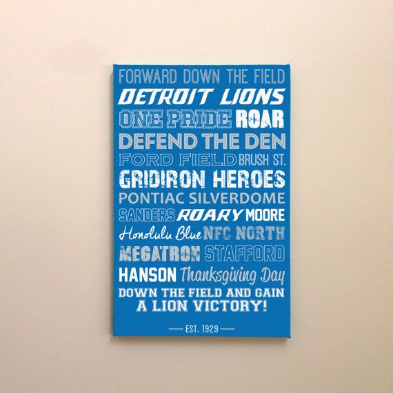 Detroit Lions Art - Canvas or Poster - Great Father's Day Gift!