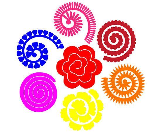 Rolled Paper Flower Svg 3d Flower Svg Svg Dxf Cricut Cameo