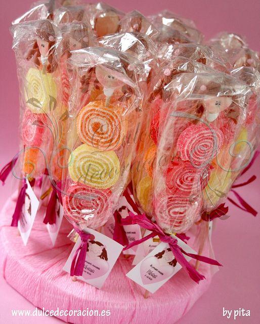 RECUERDOS DE COMUNION paleta de chuches by Dulce decoración (modelado - tartas decoradas), via Flickr