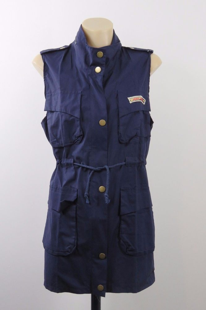 NWOT Size 2XL 18 Ladies Blue Sleeveless Jacket Tunic Army Inspired Retro Design #MI #Vest #Casual