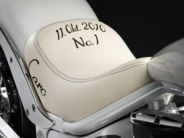 The Caroline Wozniacki bike, hand build by Lauge Jensen motorcycles - October 11th 2010 - the day Wozniacki went number one.