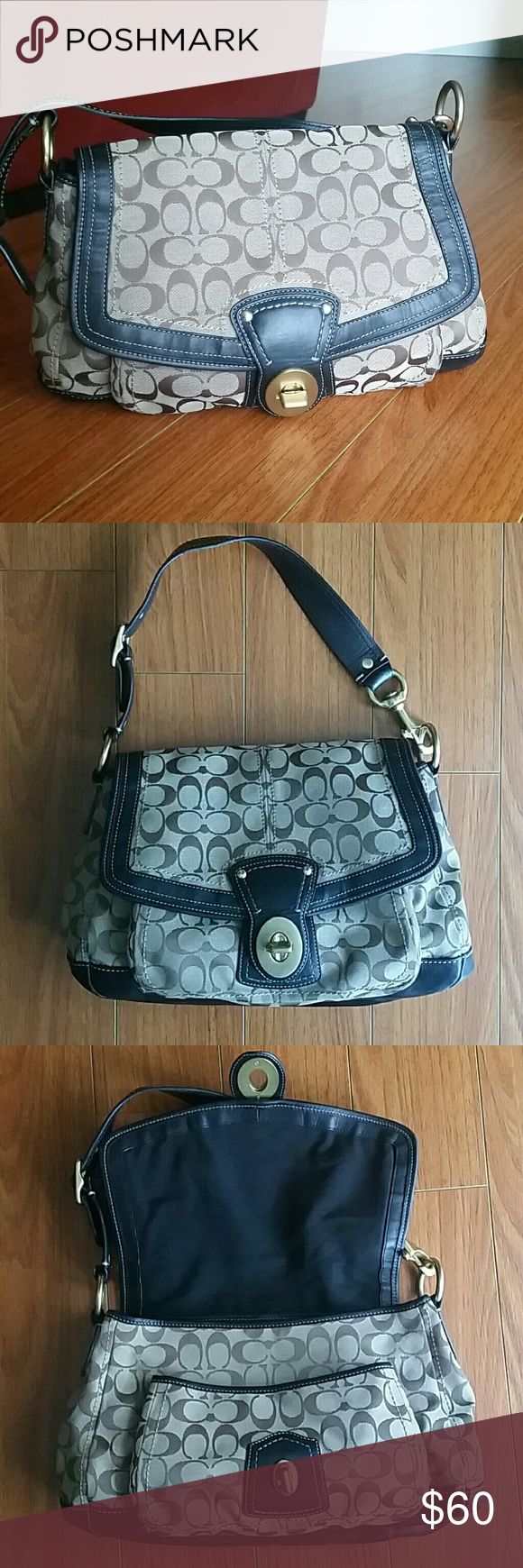 Coach hobo bag Classic Coach printed bag in good condition. No stains or scratches. Fabric is dark beige and brown. Leather is  dark brown. Coach Bags Hobos
