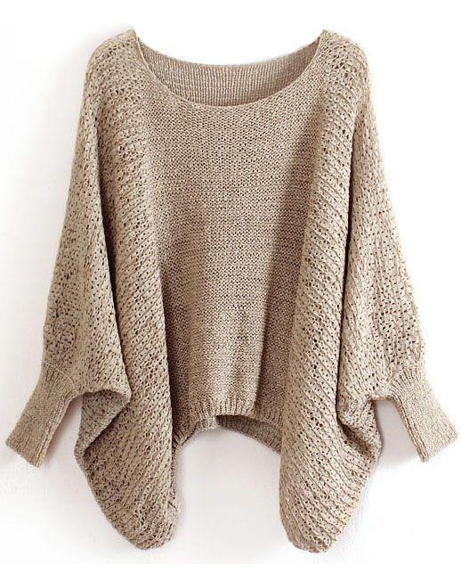 Khaki Batwing Sleeve Hollow Loose Sweater 0.00