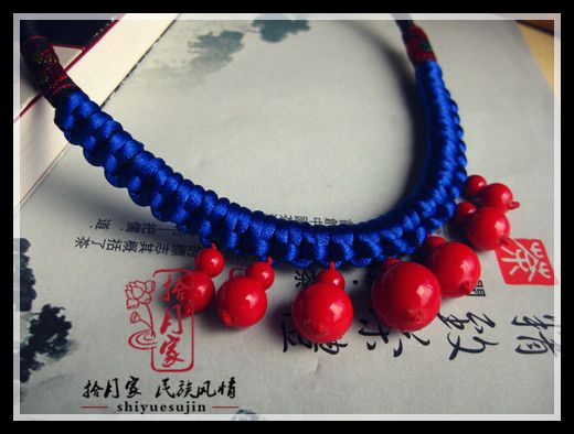 拾月家 蓝红色经典百搭纯手工民族风串珠绕绳项链 j507-淘宝网
