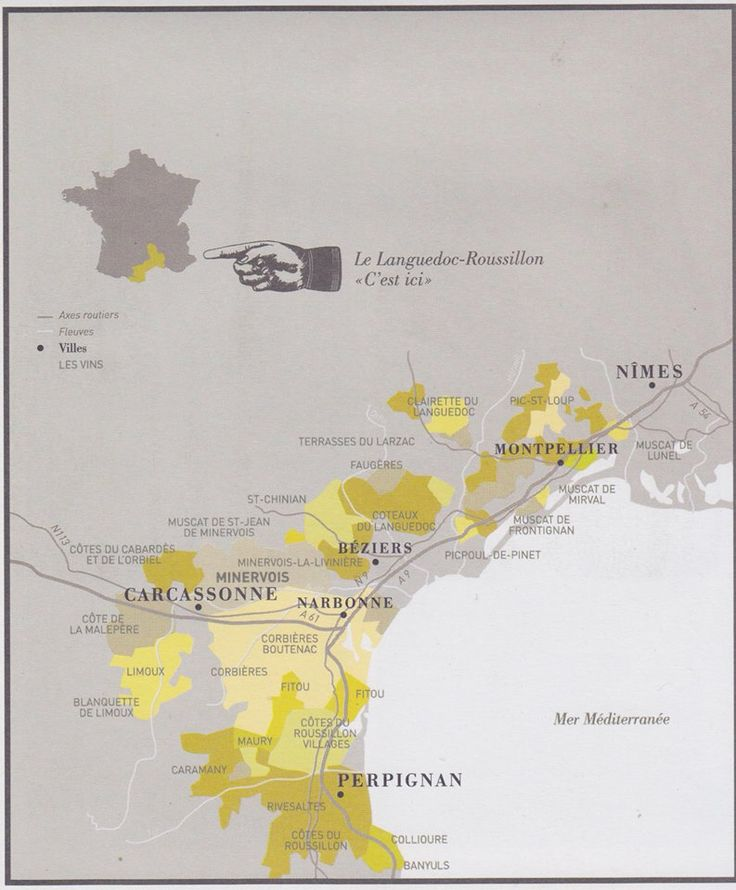 Languedoc - Roussillon Map of the wine regions. Chez Noeleen can be found right in the middle of all these lovely areas.