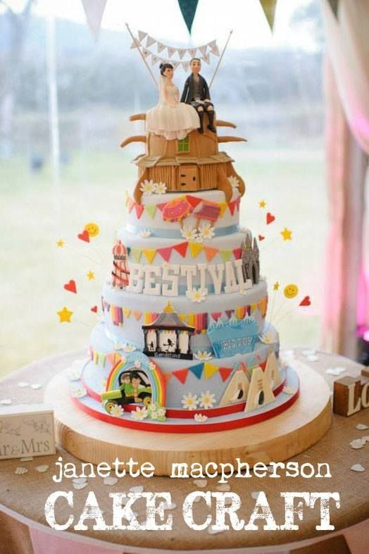 5 tier wedding cake themed on 'Bestival' the music festival where the couple met Photography by Andy Taylor Photography