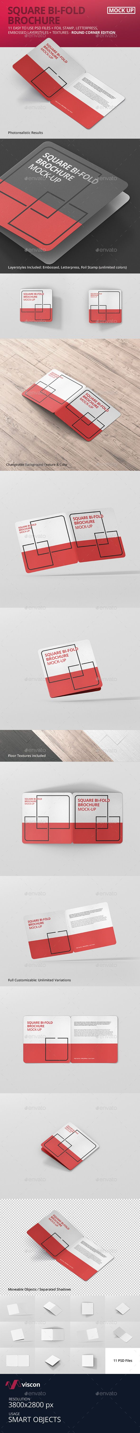 Square Bi-Fold Brochure Mock-Up - Round Corner. Download here: graphicriver.net/...