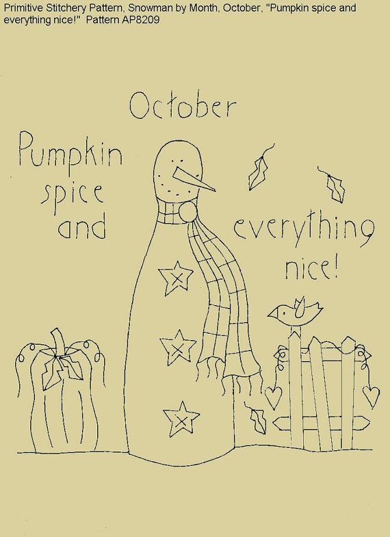 "Primitive Stitchery E-Pattern Rolling Pin Snowman by Month ""October"", ""Pumpkin spice and everything nice."" on Etsy, $2.00"