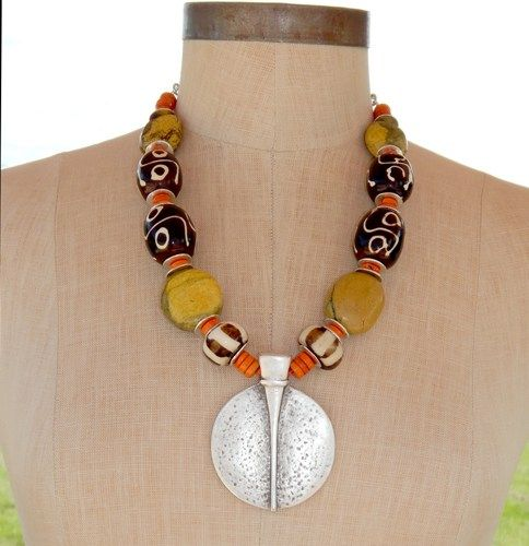Africian-Inspired Tribal Necklace with Ancient Pendant #458, $89 GracefulDesigns on ArtFire