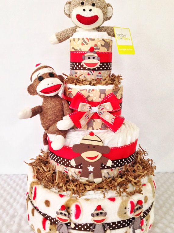 Sock Monkey Baby Boy Diaper Cake Newborn Baby by AllDiaperCakes