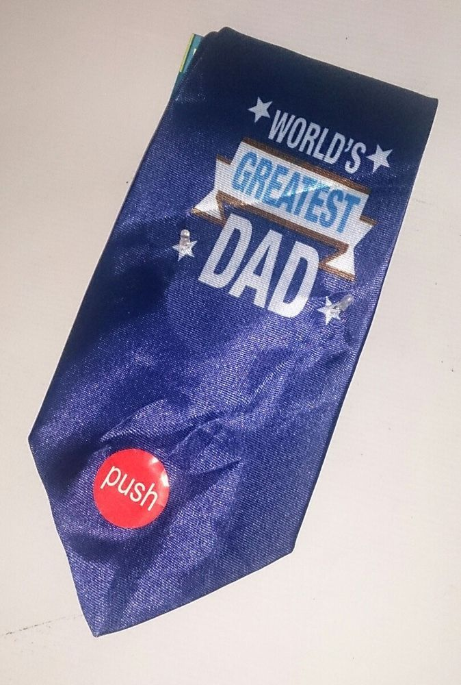 NEW Gents Light Up Tie Worlds Greatest Dad Fathers Day Birthday Gift Deep Blue