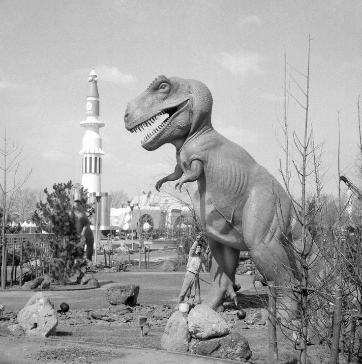 A pre-historic monster stands within sight of a 20th century rocket on April 9, 1964, symbolic of the pageant of world history presented by various exhibits at the 1964-1965 New York Worldâs Fair. Some exhibits will carry the visitor back through millions of years of the earthâs history; others will take him far into the future. (AP Photo)