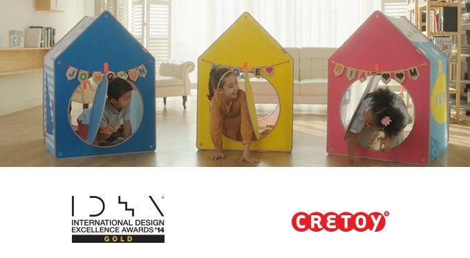 An expandable playhouse that can easily be installed and quickly folded back up for out-of-the-way storage by children.