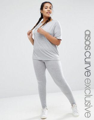ASOS CURVE LOUNGE 2 Piece Basic T-Shirt & Legging Set