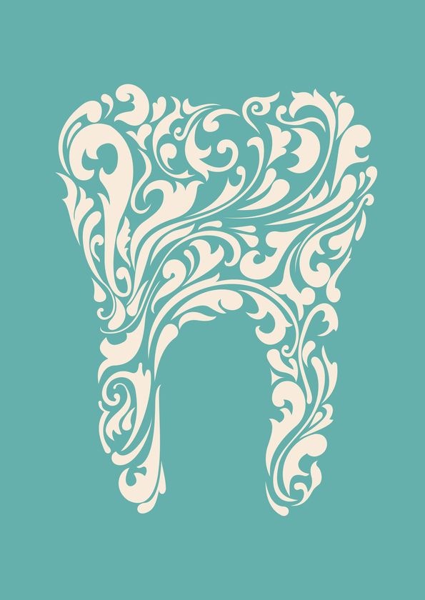 abstract image of a tooth on teal background