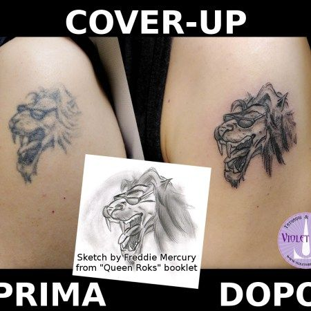 tatuaggio cover-up leone queen rocks lion roger taylor tatuaggio personaggi- Violet Fire Tattoo - tatuaggi maranello, tatuaggi modena, tatuaggi sassuolo, tatuaggi fiorano - Adam Raia - tatuaggio nichel free, tatuaggio senza nichel, tatuaggio vegano, nickel free tattoo, vegan tattoo, italian tattoo, tatto italy, tattoo maranello, tattoo modena