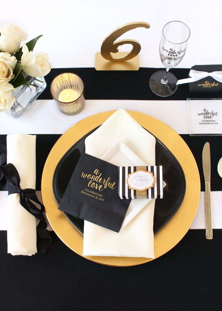 Plan your perfect modern and elegant wedding with black, white, and trendy gold! Shop the new collection of modern favors, decorations and supplies.