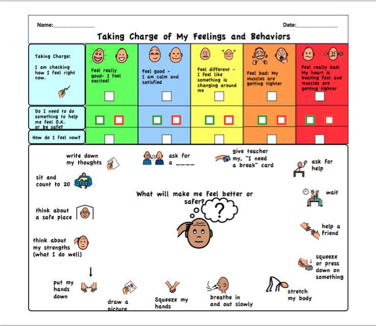 Taking charge of my feelings and behaviors worksheet