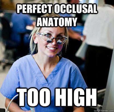 perfect occlusal anatomy too high