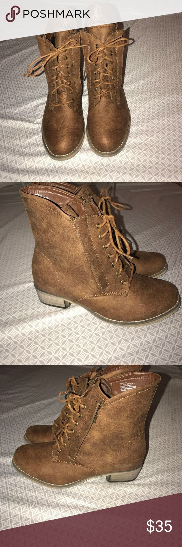 Super cute lace/zippered combat boots Super cute combat boots, laces up & has zippers on sides, perfect for this fall. These were just to big on me so they have never been worn! Brand new with box!! JustFab Shoes Combat & Moto Boots
