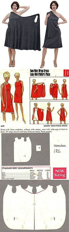 I remember making one of these dresses in High School Home Ec class. (No link to instructions )