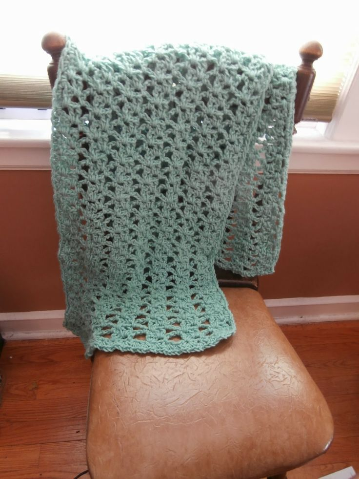 Prayer Shawl using Caron One Pound Yarn in Soft Sage Size N 15/10mm crochet hook. Pattern name is