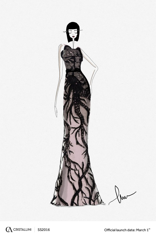 CRISTALLINI #fashion #sketch #eveningdress #sequins