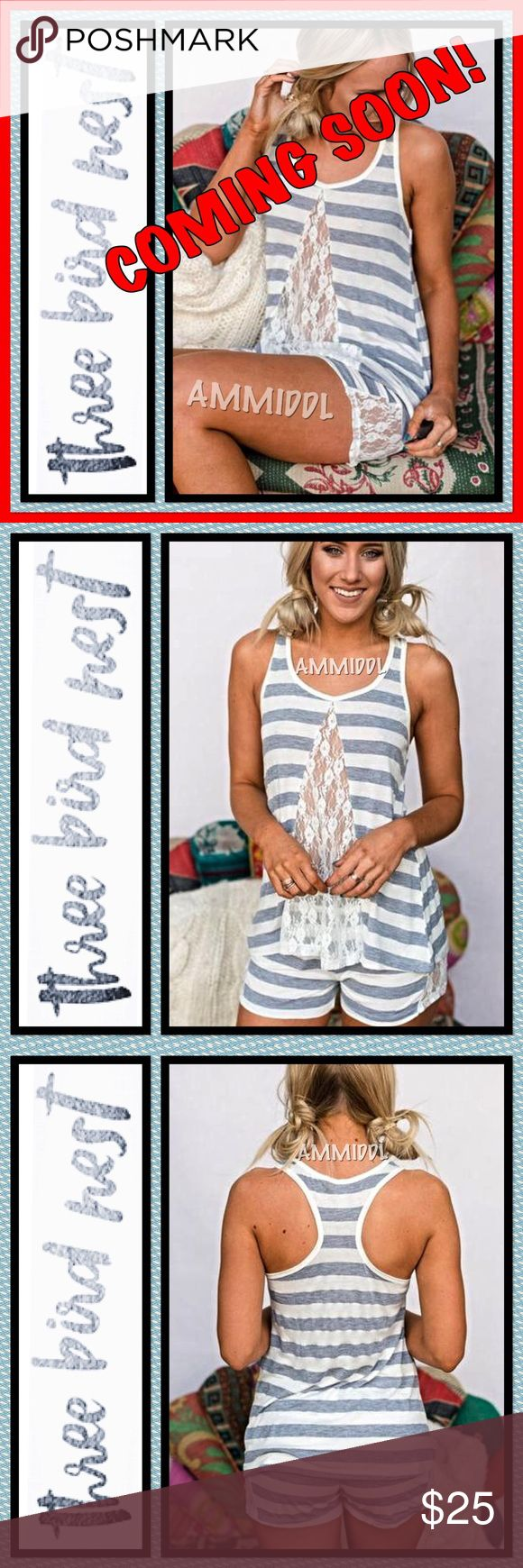 LACE LOUNGE PAJAMA SET LACE LOUNGE PAJAMA SET - Loungewear at its finest! Soft and adorable PJ's sleeping set for weekends, sleeping in or just lounging around the house.Light striped two piece pajamas lounge set with lace inset in the tank and boy cut shorts.   Stretchy, soft and so comfortable!  Available in two sizes:  XS/S Fits sizes 0-6 M/L Fits sizes 8-12 Three Bird Nest Intimates & Sleepwear Pajamas