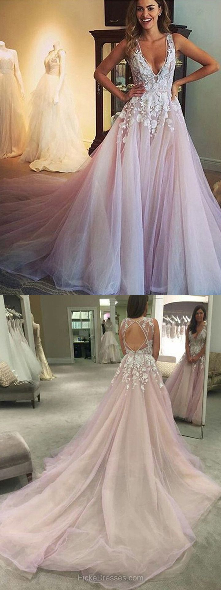 Amazing Princess Prom Dresses V-neck, Pink Party Dresses Long, Tulle Appliques Lace Formal Evening Gowns Open Back