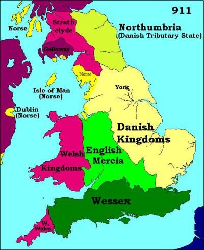 911 ad. The Anglo-Saxons arrived on the eastern and southern coasts in the sixth and seventh centuries. The Viking invasions started in AD 865, when Danes arrived on the east coast and established settlements. Norse colonised places on the west coast of Britain from AD 902. The Anglo-Saxon Kingdom of Northumbria was defeated by the Viking invaders and forced to pay homage to the Danish Kingdom of York.