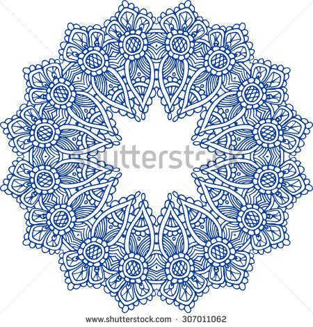 Navy blue Indian paisley mandala on the white background