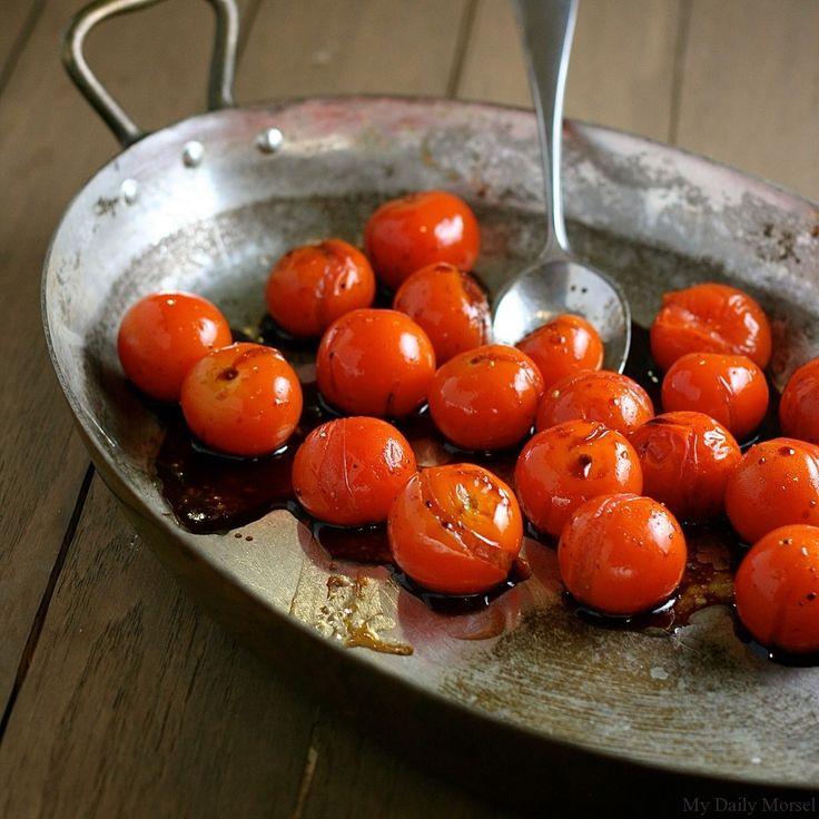 Balsamic-Roasted Cherry Tomatoes - these make a great side along with asparagus cooked in lemon juice, for a slightly dry main.