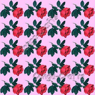 Stoffmuster Rosen rot
