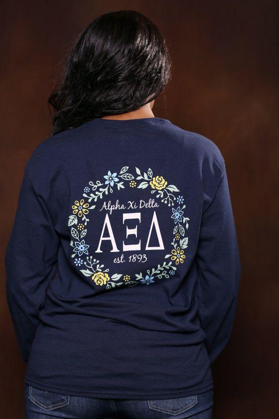 Alpha Xi Delta Comfort Color Crewneck Sweatshirt - AXiD Letter Shirt - Comfort Color Oversized Shirt 41TetQ