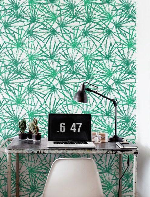 Feuille de palmier Wallpaper, fond d'écran amovible, autocollant papier peint, Déco murale tropicale, Jungle revêtement mural - JW062
