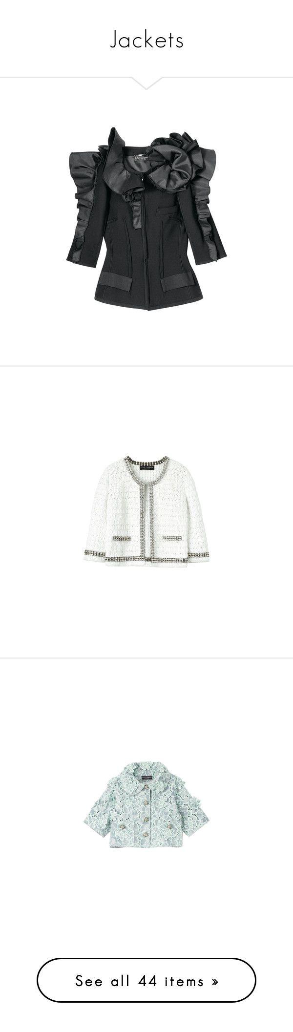 """Jackets"" by jujubeeluvsu ❤ liked on Polyvore featuring outerwear, jackets, tops, coats, ruffle jacket, dolce gabbana jacket, silk jacket, blazers, blazer and casacos"