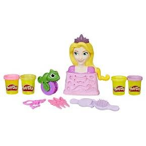 Get creative and give Rapunzel some hair flair at the Royal Salon! With the styling head, tools, and 4 cans of Play-Doh compound, there are so many fun hairstyles to try again and again. To start, simply add a Play-Doh color to the styling head and crank the lever to grow her hair. Now it's time to style! The brush doubles as a mold for colorful curls, and Pascal rolls long braids. Create bows, flowers, and other accessories at the base of the styling head and use the comb and scissors fo...