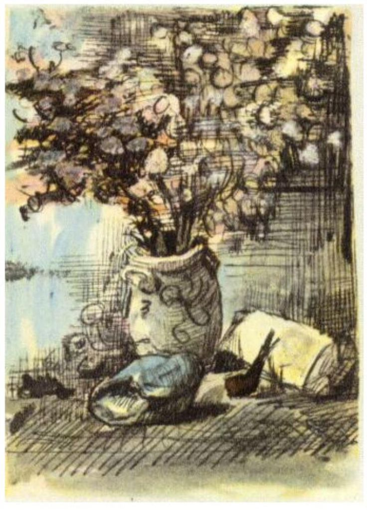 Honesty in a Vase Vincent van Gogh   Letter Sketches,   Nuenen: 1-Apr, 1885 Van Gogh Museum  Amsterdam, The Netherlands, Europe  F: ;398, ;JH: ;726