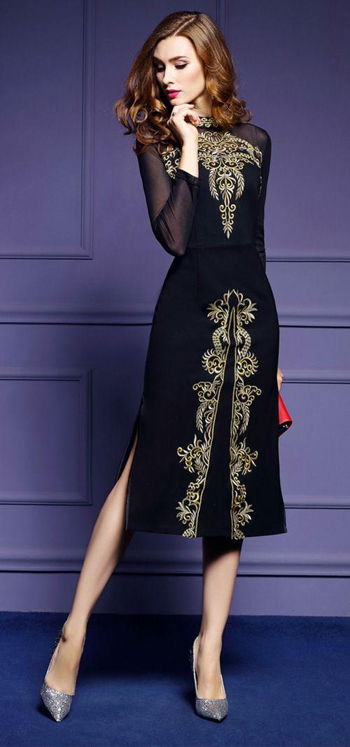 Women's Plus Size Slim Vintage Bodycon Dress