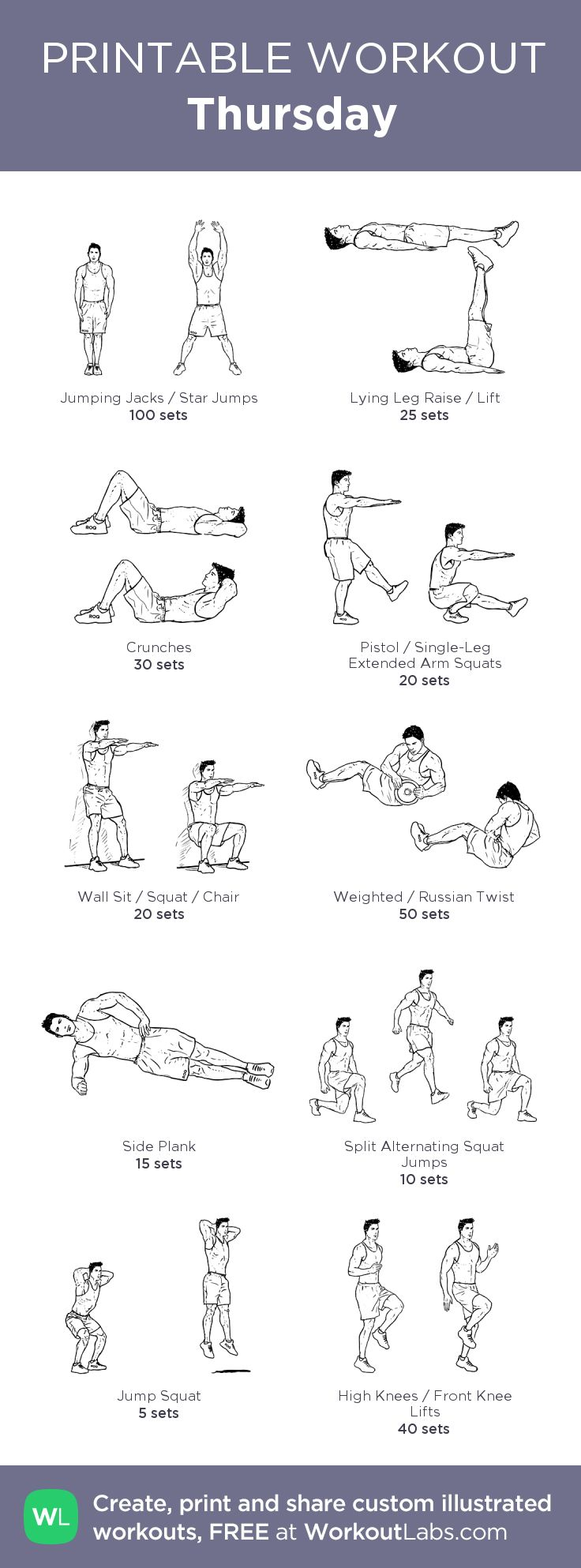 Thursday:my visual workout created at WorkoutLabs.com • Click through to customize and download as a FREE PDF! #customworkout
