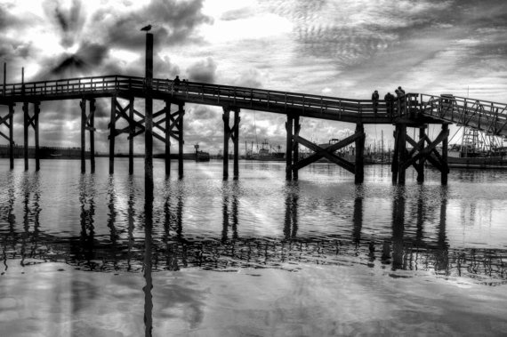 Black And White Crabbing On The Pier Washington By