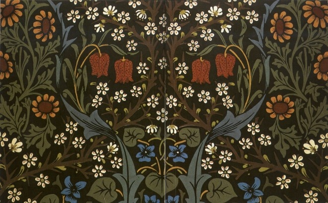 "William Morris ""Blackthorn"" wallpaper, dark green colorway"
