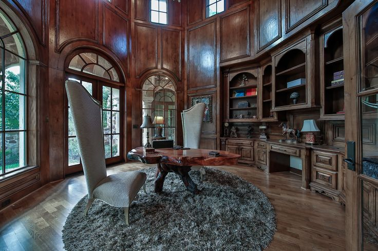 Rosewood offers a stylish 2-story office with a Juliet-balcony, elaborate wood-paneling, french doors, & built-in desk, making this the perfect area to work from home or relax and read your favorite book. #SupremeAuctions #LuxuryAuction #Houston #Dallas #Texas #HoustonRealEstate #TexasRealEstate #DallasRealEstate #Auction #LuxuryLiving #LuxuryHome #Mansion #RealEstate #LuxuryRealEstate #TheWoodlands #House #bedroom #LuxuryLifestyle #office #Rosewood #pool #idea #inspiration