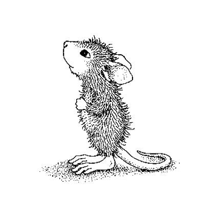 Line Drawings House Mouse Stamps Adult Coloring Pages