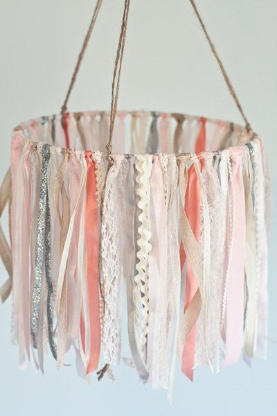 Baby Ribbon Mobile childs room hanging decor by TheGlitteredBarn Is the perfect accessory for a spring inspired nursery