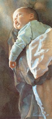"""Sleeping Newborn"" - Steve Hanks {figurative child painting}"