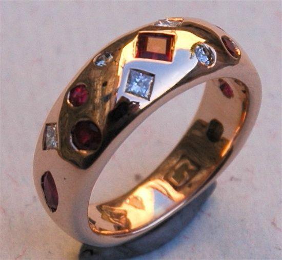 Diamond and ruby plush setting ring.