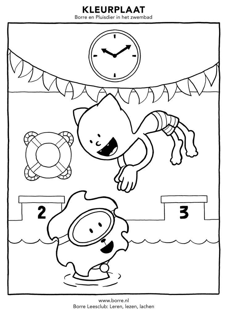 Snoopy Kleurplaat Printen Borre En Pluisdier In Het Zwembad Kleurplaten In Hogere